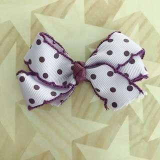 🚚 手作緞帶蝴蝶結髮夾(紫色點點)