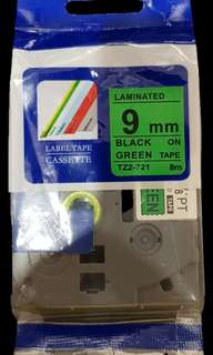 Brother Label Tape 9 mm (Green)