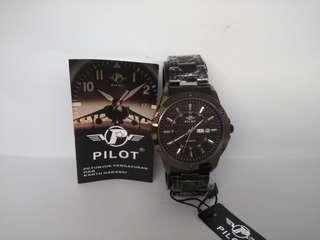 Jam tangan pilot quartz original black strip