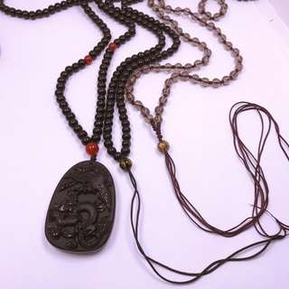 black obsidian dragon phoniex pendant/necklace
