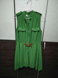 🚚 《二手》襯衫式洋裝綠M