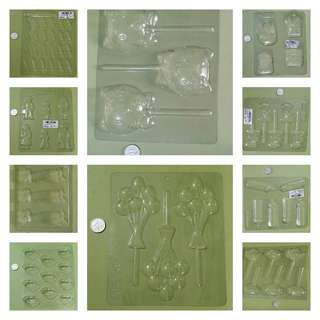 Set of 10 Chocolate Molds, different designs, could also be used for fondant (cake decorating) -- all 10 for P200.00