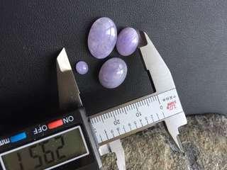 翡翠紫色介面蛋面四粒(A貨)