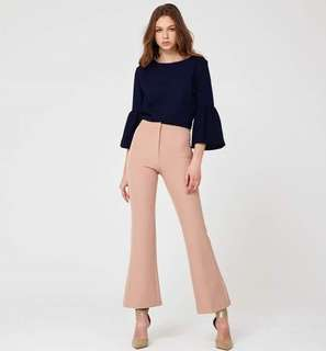 MEGAGAMIE VALERY FLATE PALAZZO PANTS IN NUDE SIZE L