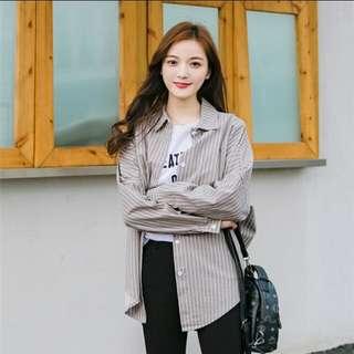 🚚 條紋 撞色 不規則 寬鬆 長袖襯衫 女韓版 薄外套