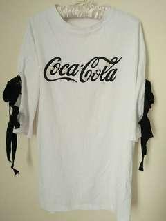 🚚 綁帶寬袖中長版上衣白色T恤 | 二手 #一百元好物