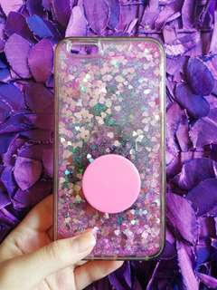 IPHONE 6+ PINK FLOWING GLITTER CASE