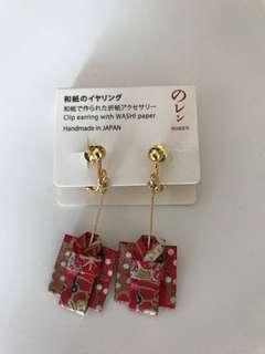日本製造 和服耳環 夾耳式 全新