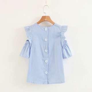 🔥2018 New Style Shoulder Lotus Leaf Edge Blue Stripe Shirt