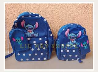 Stitch Backpack School Bag with pouch