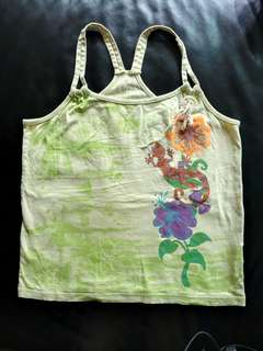 Summer vest - unusual style, unusual pattern - light green cotton vest with shimmery flower and gecko design, with large button and ribbon accessory