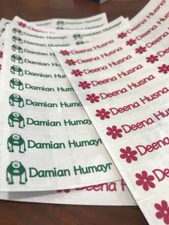 42x Transparent name sticker labels for school supplies