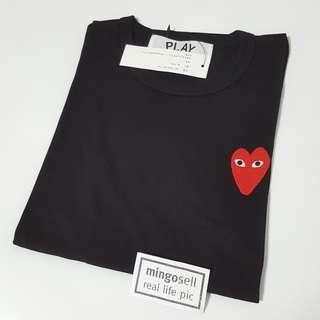 Women S ● 2018 Japan Tee Shirt play Black Tee Shirt with Long Red heart ❤