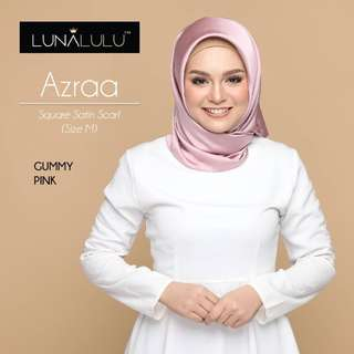 Azraa Square Satin Satin Shawl by Lunalulu (Gummy Pink)