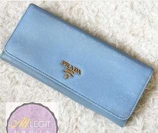 Authentic Prada Continental Wallet in Cornflower Blue (Preloved)