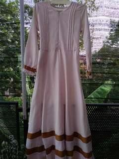 Gamis dress broken white and mustard color