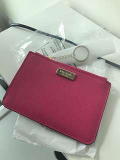 Authentic Kate Spade Wallet Laurel Way Bitsy - Radish Pink Saffiano Leather