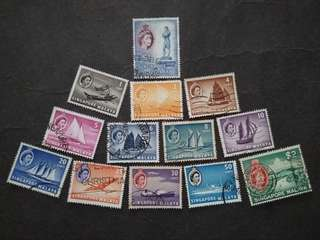 Malaya Singapore 1955 Queen Elizabeth II Ship Loose Set Short Of 12c & $5 - 13v Used Stamps