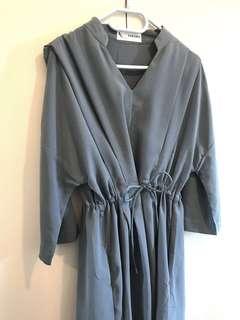 Stone blue dress 靚料 made in korea 斯文裙 番工 OL裙 100%new