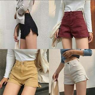 Kprea Ulzzang High Waisted Side Zipper Shorts