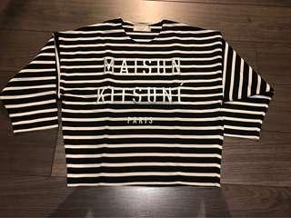 🚚 二手正品法國🦊品牌maison kitsune 線條上衣