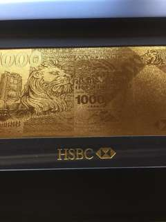 HSBC gold plated 1000 banknote