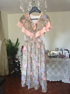 Floral Chiffon One Piece Dress 斯文連身裙