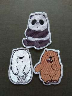 We Bare Bears Set Iron On Patch
