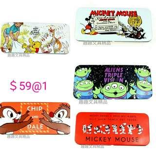 日本製 迪士尼 維尼熊 米奇米妮 大鼻鋼牙 三眼仔 鐵筆盒
