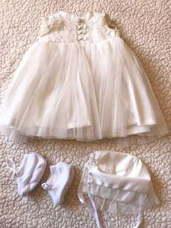 Baptismal Dress with Shoes and Cap