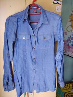 Blouse / kemeja warna blue denim