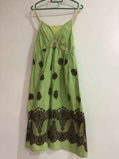 Green Floral Dress (free size)