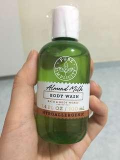 Bath and body works Pure Simplicity almond milk body wash travel
