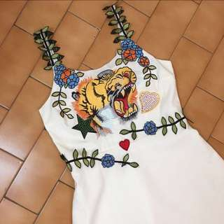 Hand Embroidered Premium Quality Tiger Flowery Dress