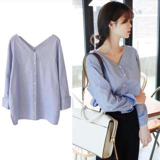 BN Korean Style Minimalistic V Neck Pinstripe Blouse in Navy Blue and White