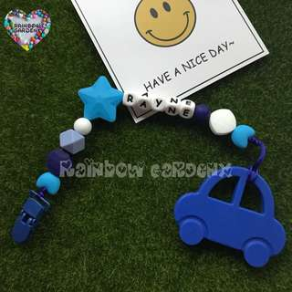 Handmade Customized Pacifier Clip with letter beads + Blue car Teether
