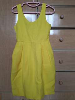 Yellow tulip skirt button back dress with pockets chaceylove