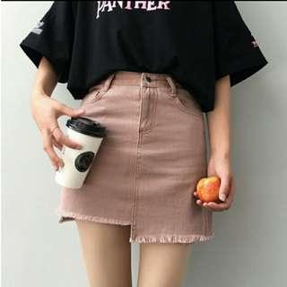 Kprea Ulzzang Irregular High Waist Tassel Denim Skirt