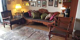 Wooden 3-seater Leather sofa and 2 Armchairs