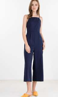 Ninth Collective: Luxy Pin Stripes Jumpsuit in Navy Blue