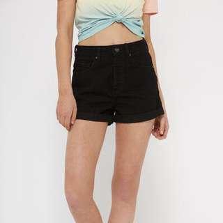 factorie black high waisted denim shorts