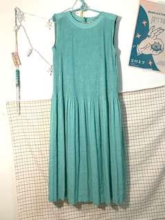 🚚 古著湖水綠長洋裝
