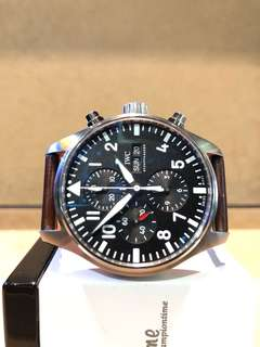 Authentic IWC Spitfire Chronograph IW3777-09 Black  Dial Automatic Steel Casing Leather
