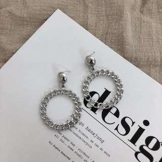🚚 925銀鏈條圈型耳環