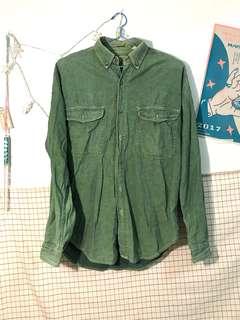🚚 古著綠色長版牛仔襯衫