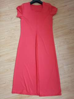 Long Orange Blouse w/ front slit