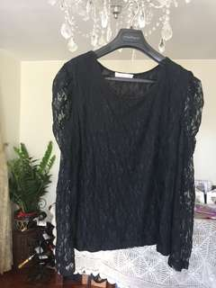Black Lace Top with Princess Shoulder