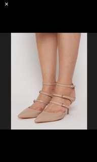 MDS nude kitten heels pumps Low heels block heels ol