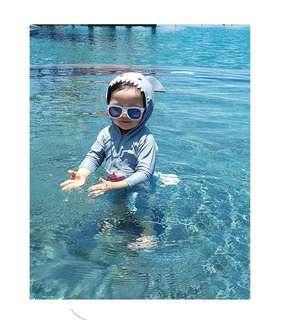 韓國兒童連身鯊魚防曬長䄂泳衣
