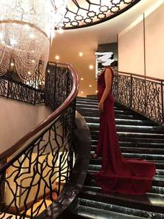 Maroon Long Back Gown